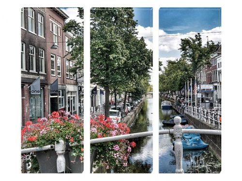 Tablou Canvas cu 3 Piese Canalul din Amsterdam